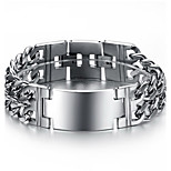 Men's Hight Quality Titanium Steel Silver Chain ID Bracelet