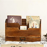 Vintage Wood Storage CabinetBooks Magazine Newspaper Rack Folder Cabinets With Drawers