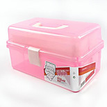Three Large Transparent PVC Plastic Nail Painting Pencil box storage Toolbox Paint Box