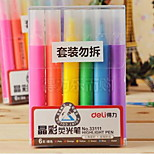 Deli Office Supplies 33111 Six-Color Highlighter Marker Pen Draw The Focus Ring Highlighter