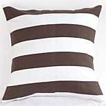 Geometric Graphic Black And White Striped Cotton Canvas Pillow
