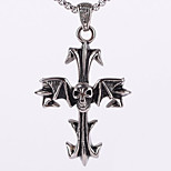 Punk Rock Gothic Tide Restoring Ancient Ways Male Skull Titanium Steel Cross Necklace Pendant (Excluding Chain)