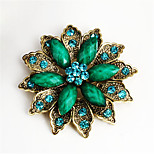 Retro Fashion Jewelry Wholesale Alloy Resin Rhinestone Flower Women Brooch