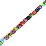 Beadia 38Cm/Str 6x6x3mm Square Millefiori Flower Lampwork Glass Beads(1.0mm Hole)