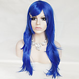 Color Cosplay Wig Blue 26 Inch High Temperature Curly Hair Silk Wig