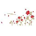 Peony Flower Wall Stickers Wedding Room Windows And Skirting English Sofa Background Decorative Stickers
