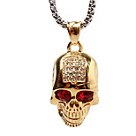 Luxury Personality Drilling Skull Ghost Head With Titanium Steel Necklace Pendant - Golden (Not Including Chain)