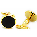 Set of 2 Gold Round Cufflinks for Men Gift Jewelry