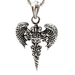 Z340 Europe And The United States Foreign Trade, Titanium Steel Wings Cross Necklace Pendant (Excluding Chain)