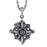 China Jewelry Manufacturer Kalen Factory Direct Selling Men's Stainless Steel Compass Shaped Pendant Neckalce
