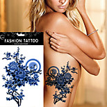 5pcs Waterproof Blue Peony Tree Colored Drawing Women Back Arm Body Art Tattoo Sticker
