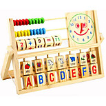 Multifunction Smiley Clock Computing Rack Wooden Toys Early Education Educational Learning