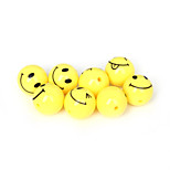 Beadia 20Pcs Acrylic Beads 18mm Round Yellow Smiling Face Plastic Spacer Beads (2mm Hole)