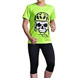 Esportivo Moto/Ciclismo Camisa + Shorts / Fundos / Blusas Homens Manga Curta Respirável / Redutor de Suor Elastano Esporte VerdeS / M / L