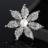 Fashion Alloy Flower Shape Women Pearl Brooch