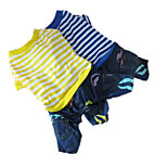 Holdhoney Dog Clothes/Cotton Jumpsuit Blue / Yellow Spring/Fall Stripe Zebra, Jeans Fashion(LT15050272)