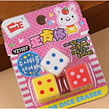 Color Dice Cube Shape Rubber Eraser Cute Stationery Student Study Supplies Three Loaded