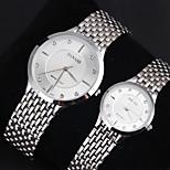 Couple's Men's Women's Watch Imitation Diamond Fashion Watch Lover's Watch Dress Style Stainless Steel Band Quartz Watch