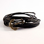 High Quality Gift Summer Style Multilayer PU Leather Men Anchor Bracelets
