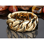 High Quality Jewelry Men's 316L Stainless Steel 18k Gold Plated Heavy And Chunky Chain Shiny Bracelet