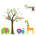 Cartoon Animals Zoo Family Wall Stickers DIY Removable Children's Bedroom Living Room Wall Decals