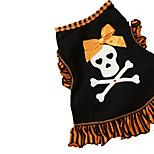 Cat / Dog Costume / Shirt / T-Shirt Black / Gold Summer / Spring/Fall Bowknot / Skulls Halloween, Dog Clothes