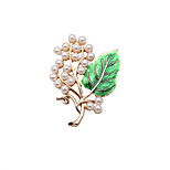 Fashion Women Elegant Pearl And Enamel Branch Metal Brooch