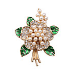 Fashion Women Elegant Pearl And Rhinestone Set Flower Brooch