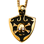 Vintage Fashion Skeleton Pendant 18K Gold Plated Black Oil Necklaces Pendants For Women/Men Jewelry P30143