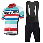 KEIYUEM Bike/Cycling Bib Shorts / Jersey / Clothing Sets/Suits Unisex Short SleeveBreathable / Quick Dry / Dust Proof / Wearable /
