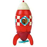cohete rojo de construcción de juguete magnético de madera