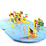 Wooden Flag Map Of The World