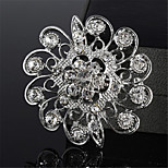 Trimmed With Rhinestones Fashion Brooch Flower Shape