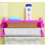 Dual trace sucker kitchen bathroom double bar towel rack / racks with hook (blending)