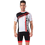 Sports Bike/Cycling Jersey + Shorts / Tops / Bottoms Men's Short Sleeve Breathable / Stretch / Sweat-wicking Elastane WhiteS / M / L / XL