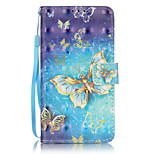 PU Leather Material 3D Painting Gold Butterfly Pattern Phone Case for LG K5/K7/LS775
