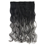 BlackTsmoky gray clips in on Dip Dye ombre two tone synthetic hair extension Curly hairpieces 130g 60cm