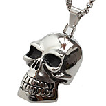 Vintage Large Skull Titanium Pendant Necklace
