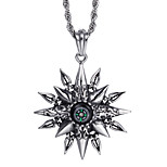 2016 Unique Design Jewelry Men's Stainless Steel Octagon Stars Shaped Compass Pendant Necklace