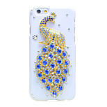 de volta Strass Animal PC Duro Peacock Case Capa Para Apple iPhone 6s Plus/6 Plus / iPhone 6s/6