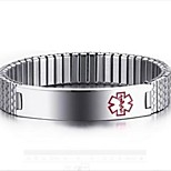 Bangles 1pc,Silver Bracelet Medical Marker  Oval 514 Titanium Steel Jewellery