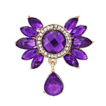 Fashion Cute Rhinestone Water Drop Flower Women Ladies Metal Brooch