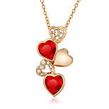 Női Nyaklánc medálok Kocka cirkónia Cirkonium Kocka cirkónia Arannyal bevont Heart Shape Divat Piros/Fehér Fehér/Zöld ÉkszerekEsküvő
