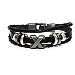 Punk Fashion Men's Bracelet Bronze Pu Leather Easy Hook Bracelet Alloy Bracelet Chain Bracelets X Shape