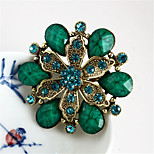 Fashion Vintage Alloy Rhinestone Brooches for Women Purple Green