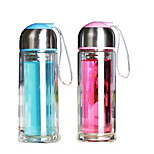 Creative Bilayer Transparent Insulation Glass Bottle 210ml (Random Colors)