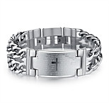 Men's Hight Quality Titanium Steel Silver Chain ID Bracelet with Bible Cross