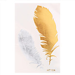 4pcs Water Transfer Hair Tattoo Sticker Flash Metallic Feather Temporary Body Art Tattoo Sticker