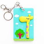 3500 Wholesale Korean Cartoon Stereo Animal Beard Silicone Card With A Key Ring Bus Bank Card Holder (Giraffe)