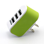 Caricabatterie fisso Per iPad Per cellulare Per tablet Per iPhone 3 porte USB Presa US Bianco